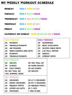 weekly workout routine for women - Google Search