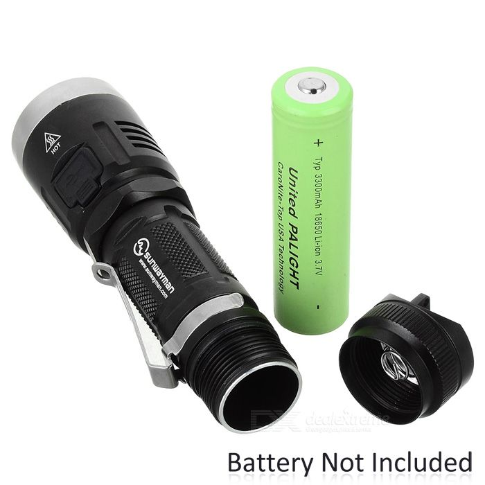 Sunwayman C23C 1000lm 8-Mode XM-L U2 LED White Light Outdoor Flashlight - Black (1*18650 / 2*CR123A)