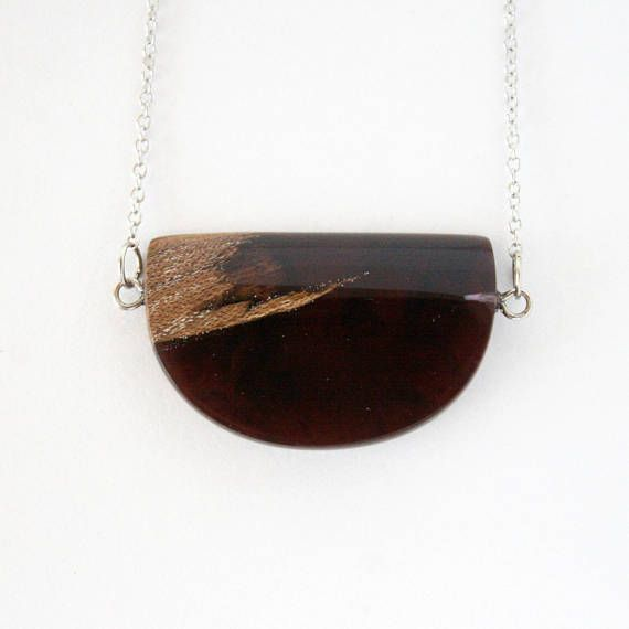Deep Purple Wood & Resin Necklace Resin Wood Jewelry