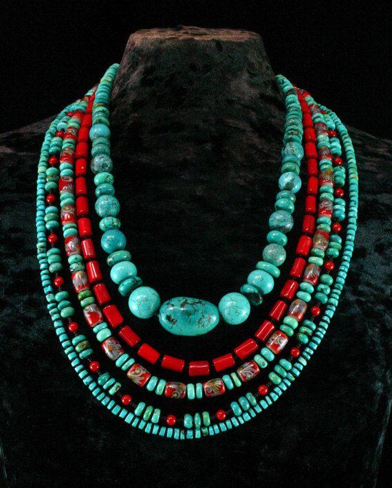Turquesa y coral. #collar
