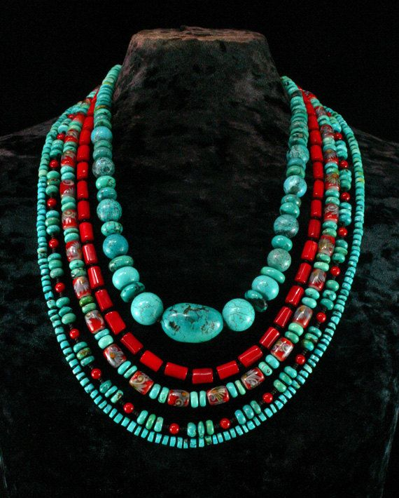Turquoise Multistrand Necklace Ethnic by ByDivineCollectibles