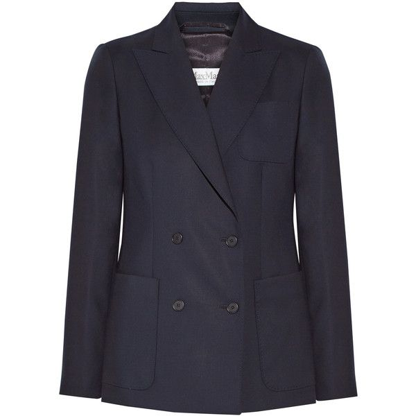 Max MaraArpa Double-breasted Wool-twill Blazer (37 515 UAH) ❤ liked on Polyvore featuring outerwear, jackets, blazers, midnight blue, slim fit blue blazer, wool jacket, twill jacket, blue wool blazer and twill blazer