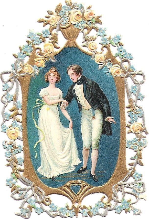 Oblaten Glanzbild scrap die cut chromo Braut paar bride gold und silber Dresden