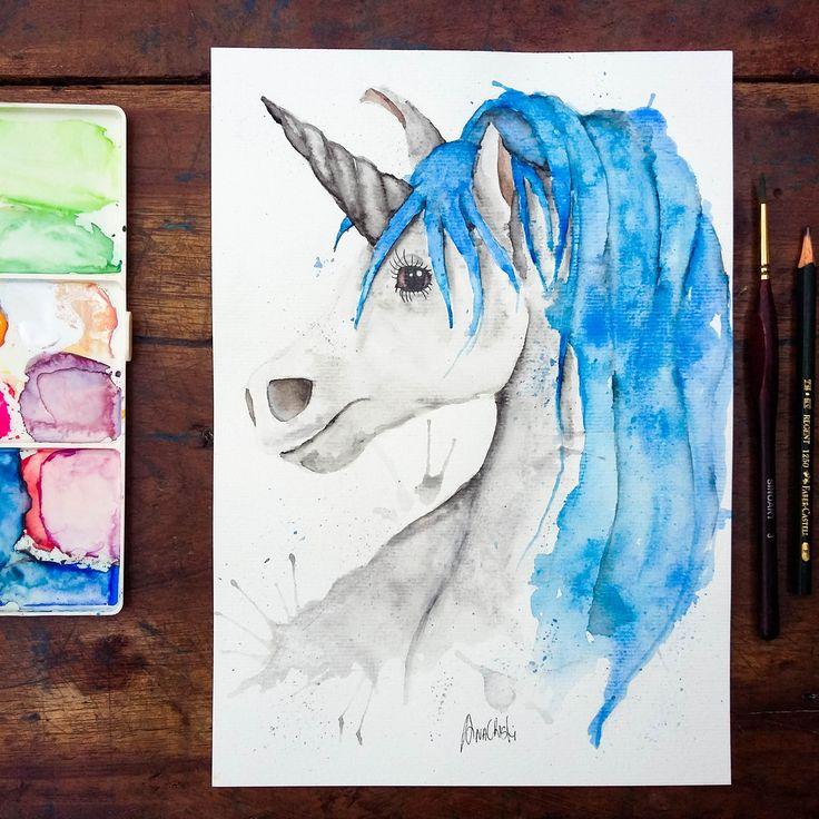 Watercolor Unicorn. @anacbeier - Facebook/anacristibeierilustrações.com