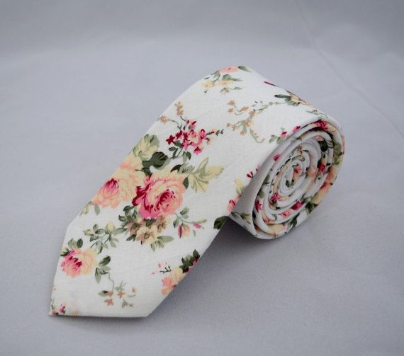 Retro Floral Skinny Tie 2.36 by MYTIESHOP on Etsy