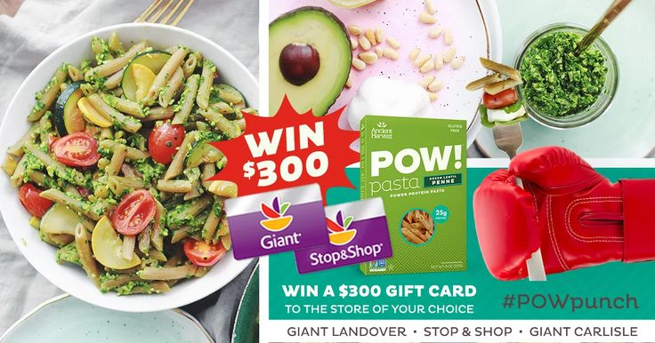 Win a $300 StopandShop OR GiantFood G/C 2 pick up protein packed POWPunch Pasta from ancientharvest: http://woobox.com/cdribv/ihshgs GL