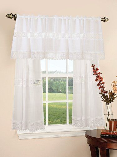 Treasure Lace Design Sheer Three Piece Kitchen Curtain Set Color White By Violet Linen