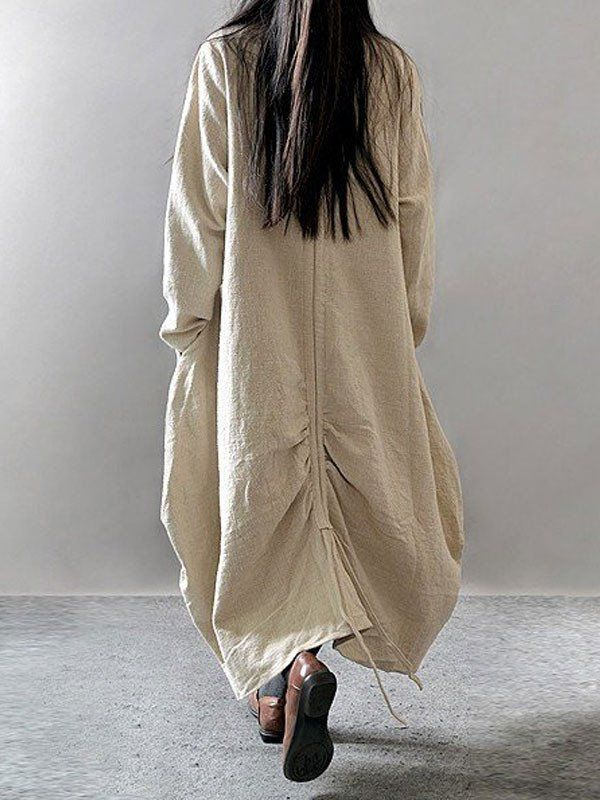 Women cotton linen loose fitting loose maxi dress