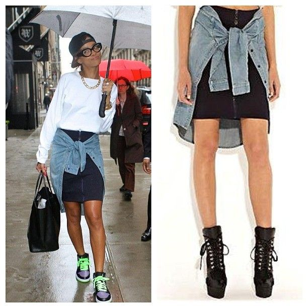 Rih hitting the streets of #NYC wearing the #RihannaforRiverIsland navy/denim zip front skirt with shirt detail