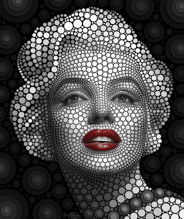 Portraits Created by Circles - Digital Circlism by Ben Heine