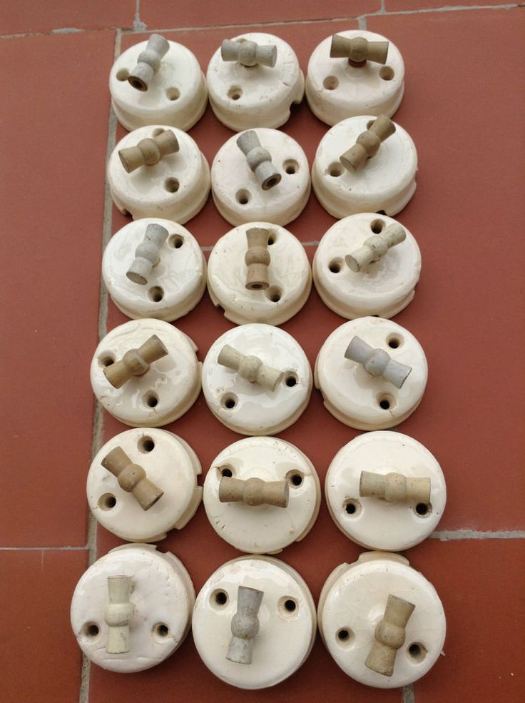 Old antique porcelain rotary light switches
