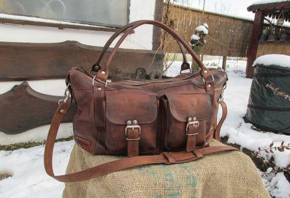 Handmade Leather Travel Bag / Matte Leather Duffle Bag / Leather Overnight Bag / Brown Leather Travel Bag / Coffee Brown Leather Duffle Bag #transylvanianmonk #handmade #brownleather #weekenderbag #overnightbag