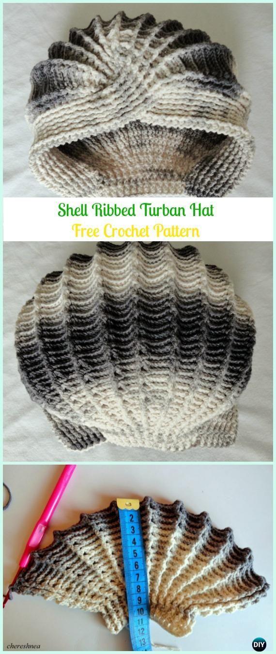 Crochet Shell Ribbed Turban Hat Free Pattern - Crochet Turban Hat Free Patterns