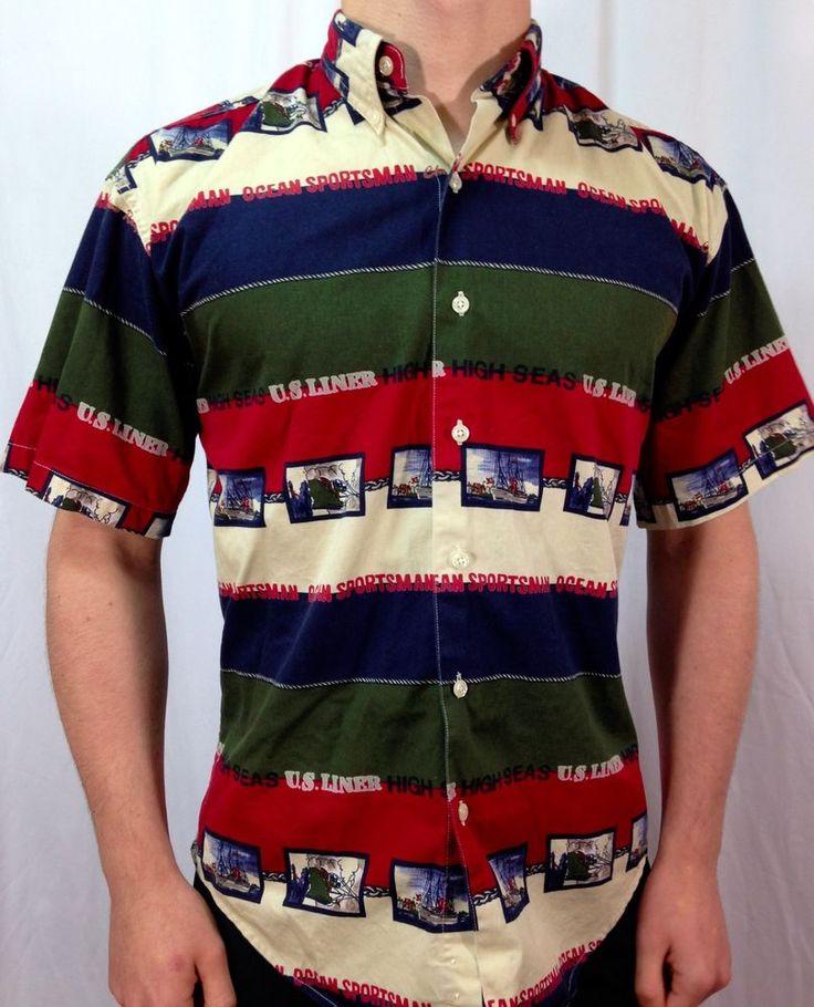 VINTAGE RALPH LAUREN Mens SHIRT Nautical Theme Size Small Shirt Rare! #Chaps #ButtonFront