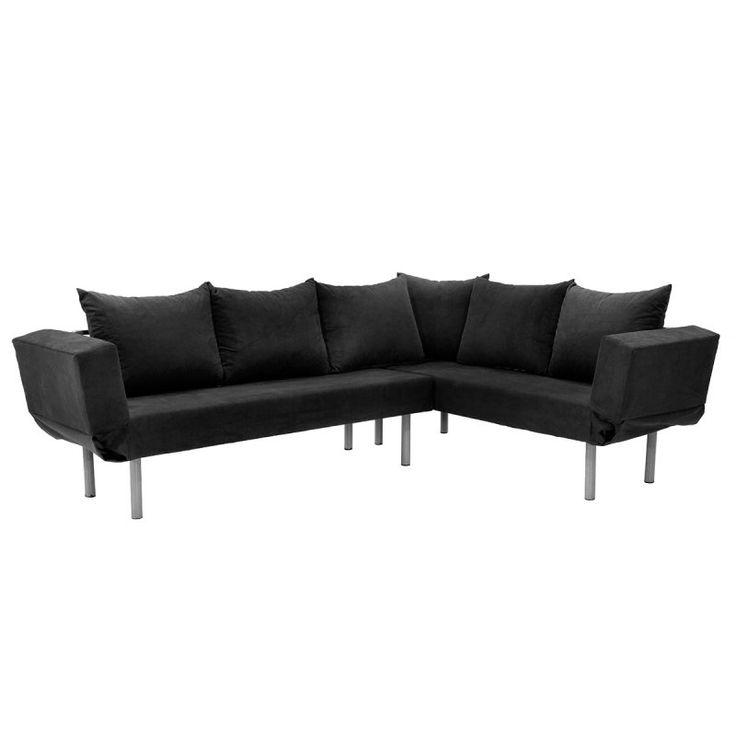 Γωνιακός καναπές Seul Corner με ύφασμα μαύρο 233x170x85
