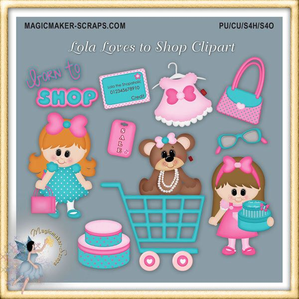 Girl Shopping Clipart, Lola Loves to Shop by MagicmakerScraps on Etsy https://www.etsy.com/uk/listing/227403424/girl-shopping-clipart-lola-loves-to-shop
