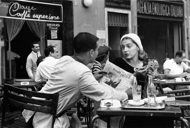 'Jinx and Justin Flirting at the Cafe,' Florence, Italy, 1951