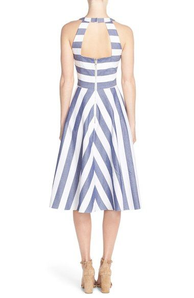 Free shipping and returns on Eliza J Cotton Fit & Flare Dress at Nordstrom.com. Chambray stripes add easygoing charm to a figure-flattering dress cut below the knees to a trendy midi length. The circle-cut skirt affords extra twirl.