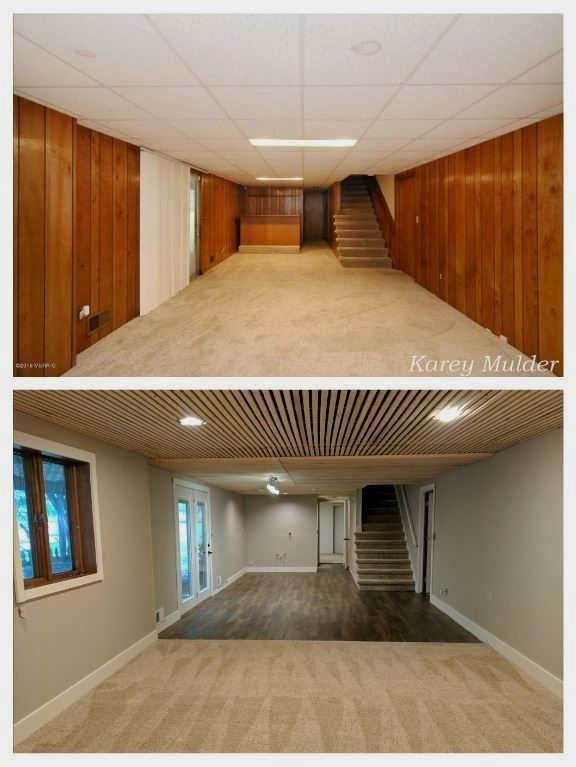 Remodeled Basement From 70 S Paneling And Suspended Ceiling Used 8 Ft Furring 1 X2 Stripes On The Basement Remodeling Basement Makeover Basement Renovations