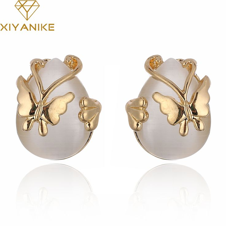 XIYANIKE Fashion Luxury Nature Stone Earring Non Pierced Water Droplets Gold Earrings For Women Brincos Statement Jewelry E889 #Affiliate
