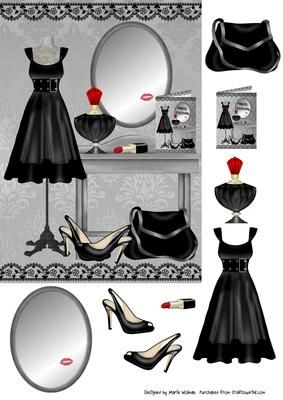 Birthday Dress on Craftsuprint. This is an easy step by step decoupage sheet featuring a black dress proudly displayed along with all the other essentials needed to finish off the look. Perfect for all occasions. - Now available for download!