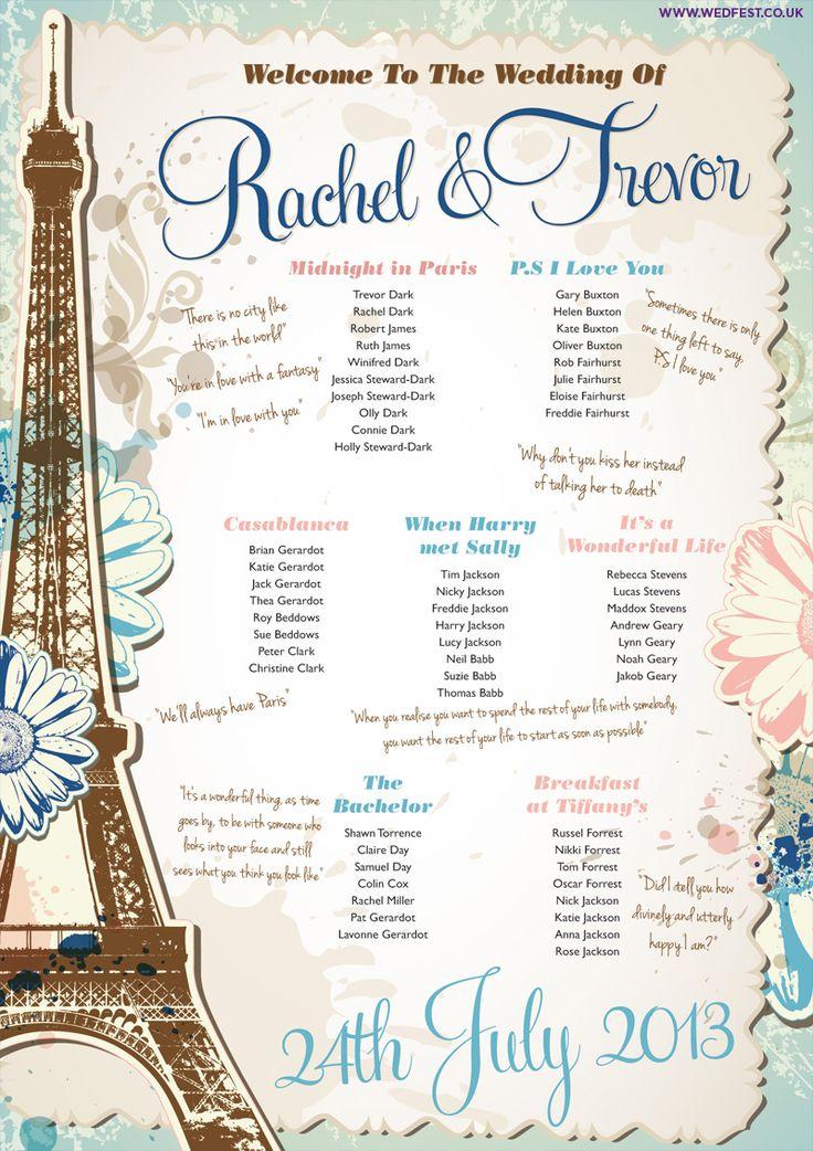 vintage chic paris theme wedding table plan