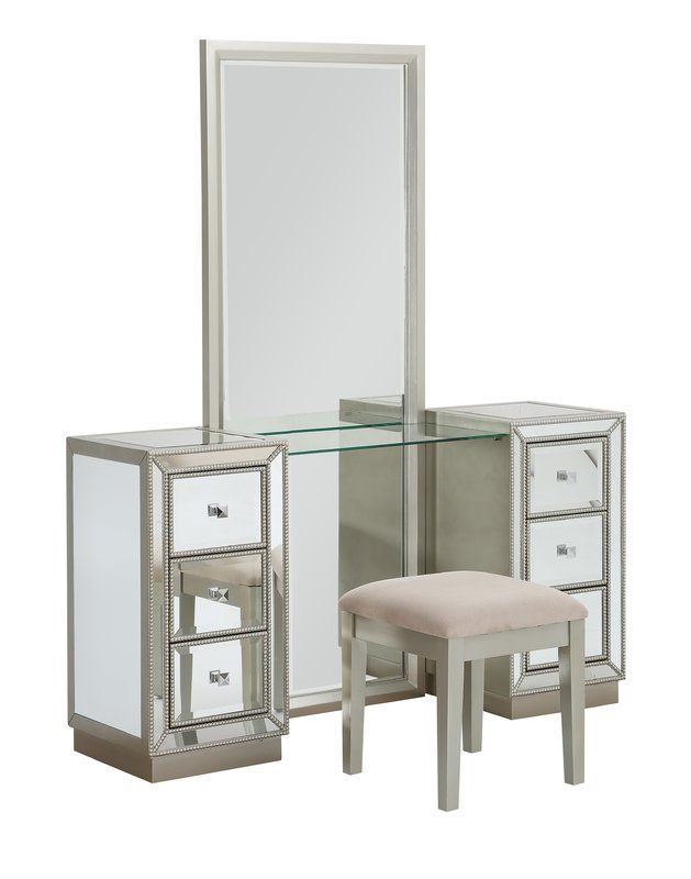 Claybrooks Storage Vanity Set With Mirror Dressing Mirror Vanity Set Vanity