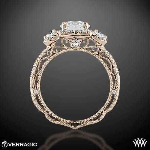 Ring Side View of Verragio Triple Halo 3 Stone Engagement Ring