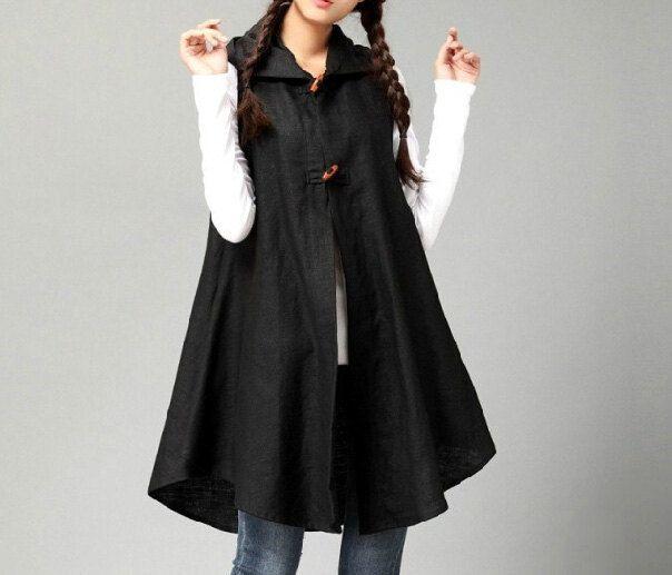 Fashion New Women Vest Dress / Loose Linen Hoodie Shirt / Folk Style Cape Coat / Hooded Cardigan / Casual Simple Long Shirt / Plus Size Top by KoshFashion on Etsy