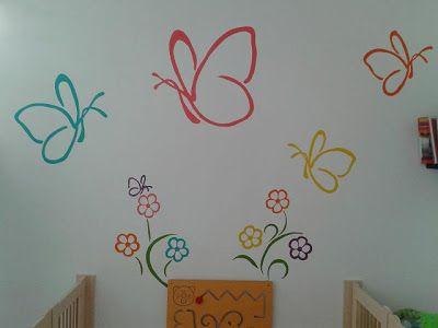 Ma-de-by-me: Muurschildering bloemen en vlinders