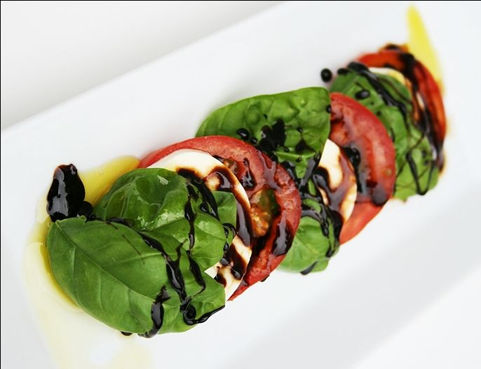 Caprese Salad - this Balsamic reduction is amazing; I want to try it on other veggies and chicken too.