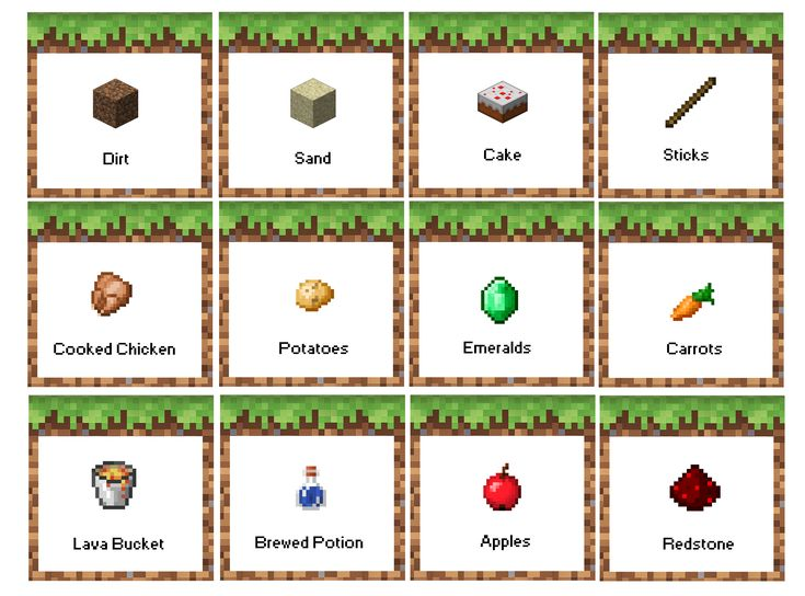 Minecraft Birthday Party Food Labels. Free Printable! Now with Apples instead of Melon!  Menu based on: Dirt- Coco Crispy Treats; Sand- Rice Crispy Treats; Cake- birthday cake!; Sticks- Pretzel sticks; Cooked Chicken- Chicken Nuggets; Potatoes- Tater Tots; Emeralds- green grapes; Carrots- carrots!; Lava Bucket- Red Jello; Brewed Potion- drinks; Apple- Apples!; Redstone- Strawberries (or red wrapped Hershey kisses, or red candy)