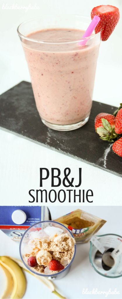 Packed with fruit and protein! So easy to throw together. PB&J Smoothie, Peanut Butter and Jelly, Protein Smoothie #startwithjifpowder #peanutbutter #smoothie #breakfast #ad