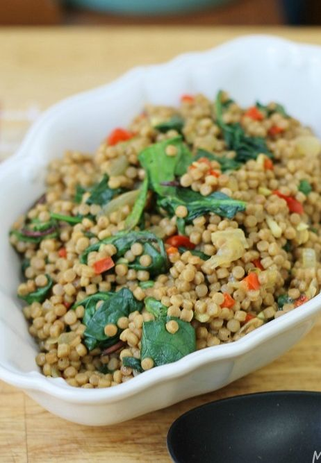 Whole Wheat Cous Cous with Red Pepper, Sweet Onion & Spinach #recipe