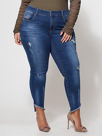 98584fa44de49 FTF Seven7 Slanted Hem Skinny Jeans - Med Wash - New York   Company ...