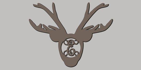 Unfinished Wood Reindeer Head Vine Monogram in 17.5 x 22 inch