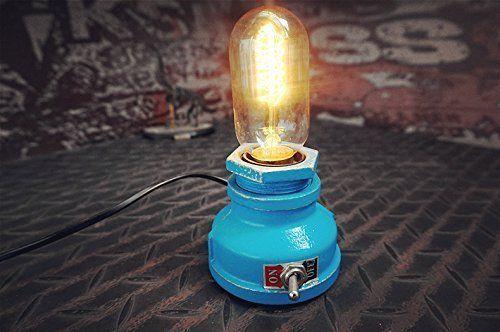 Industrial Table Lamp Water Pipe Base Metal Vintage Desk Light Retro Bar Loft