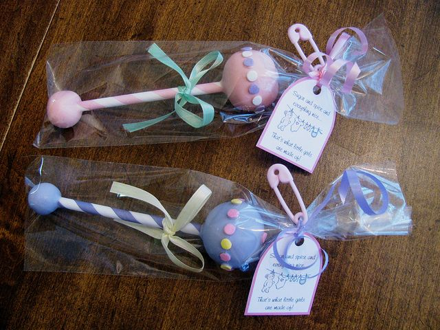 Cute idea for those so inclined...Baby Rattle Cake Pops
