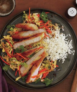 Crispy Pork Cutlets With Asian Slaw - might try quinoa instead of rice and chicken instead of pork - depends on what's in the fridge and pantry.