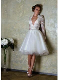 Lace V-neck Beading Long Sleeve Wedding Dresses 2014 Waistband White Gowns