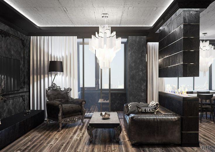 Дизайн интерьера гостиной в темных тоннах #lesh #дизайн #интерьер #дизайнинтерьера #дизайнпроект #дизайнер #гостиная #черный
