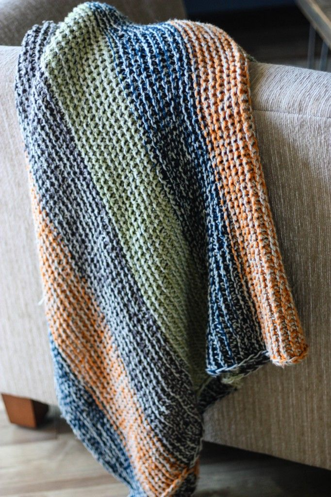 *cozy striped blanket* a free knitting pattern from Painting Lilies