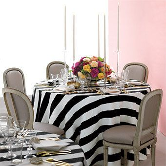 round tablecloth 3 wide vertical stripe black and by