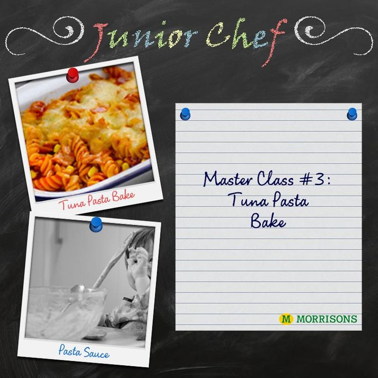 It's time to get your Mini Chefs and Tiny Cooks in the kitchen again! We've got two yummy recipes on the chalkboard for today's #Junior Masterclass. There's Cheesy Tuna Pasta Bake and a delicious Pasta Sauce on the menu today. Which will you make?