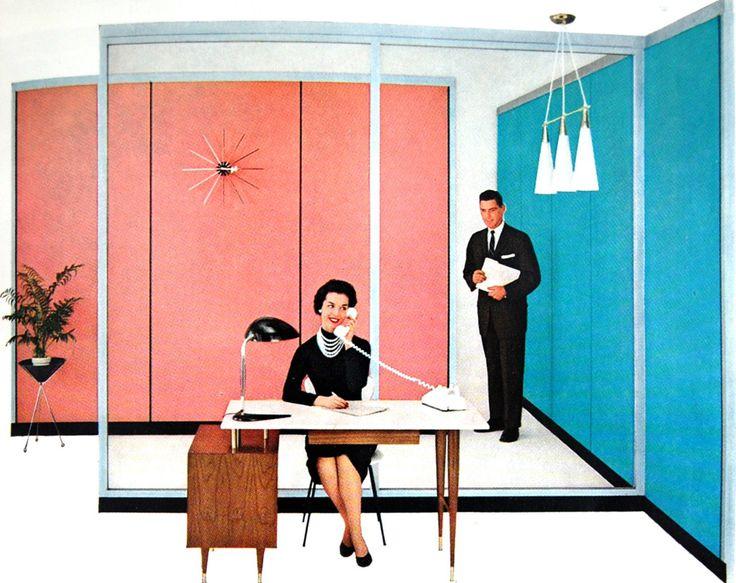 1958 - when the best secretaries wore oceans of pearls.  Hauserman Moveable Walls of Reynolds Aluminum ad, 1958. via