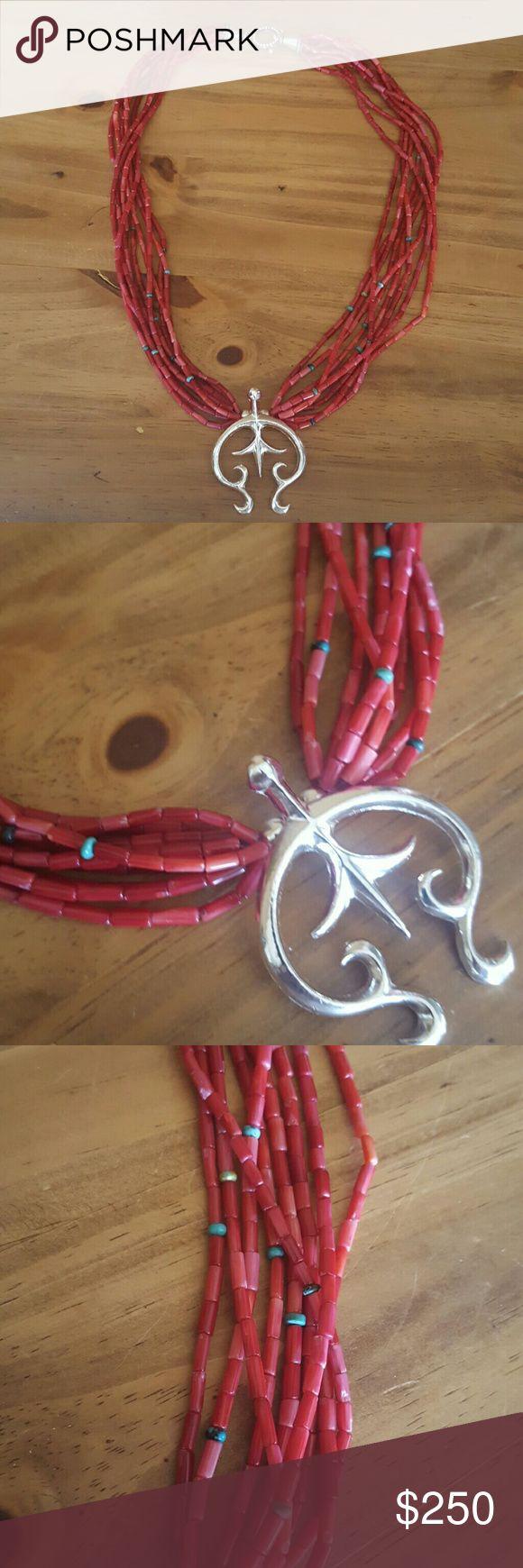 Navajo Multistrand Coral Naja Necklace Navajo coral turquoise and sterling naja necklace. Navajo Jewelry Necklaces