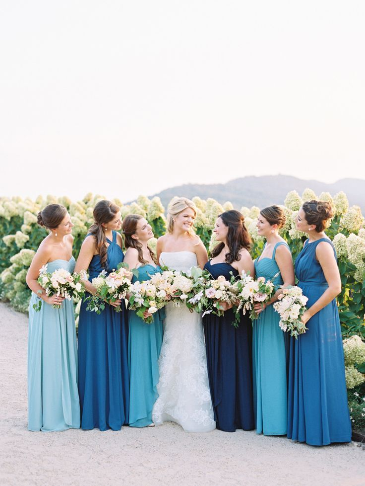 The Prettiest Ode To All Things Blue Ombre Bridesmaid Dresses Summer Wedding Dress Spring Wedding Color Palette