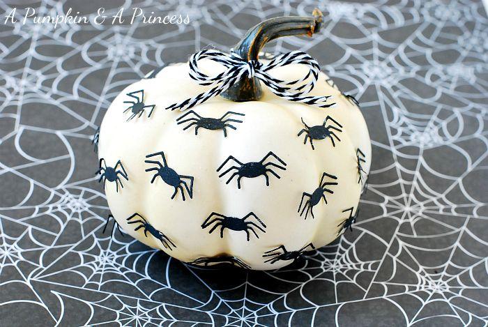 Easy #DIY Spider Pumpkin from Crystal @ A Pumpkin and a Princess using @lifestylecrafts spiderweb punches die