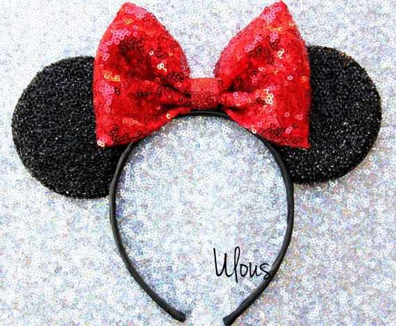 This listing is for one mouse ear  ✨ Classic Mickey/ Minnie inspired sparkly mouse ears featuring a big red sparkly sequence bow that glimmers surrounded by black shiny ears.  *CHOOSE YOUR BOW COLOR*  *One size headband most Adults &Kids! *Made from soft material so its comfy to wear all day  Thanks for visiting Ulous, Happy Shopping