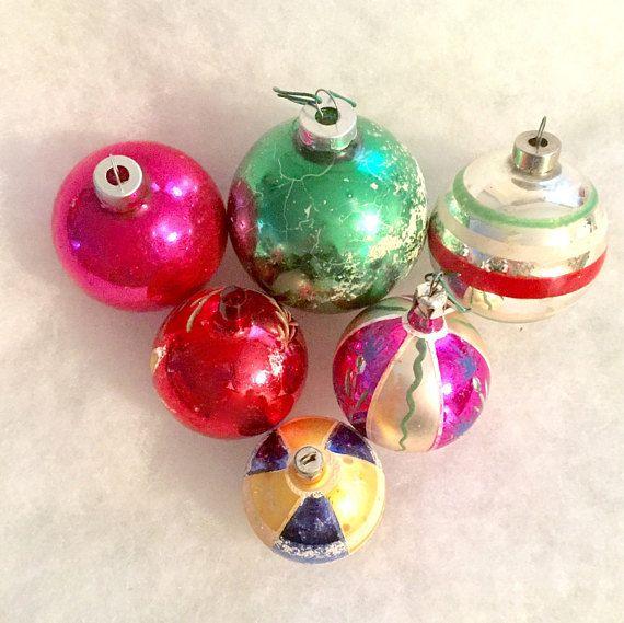 Vintage Christmas Ornament Lot of 6 Glass Ornament Baubles #Vintage #ChristmasOrnaments #Baubles #Poland #Vtg #HandPainted #HandBlownGlass #Ornaments #VintageChristmas
